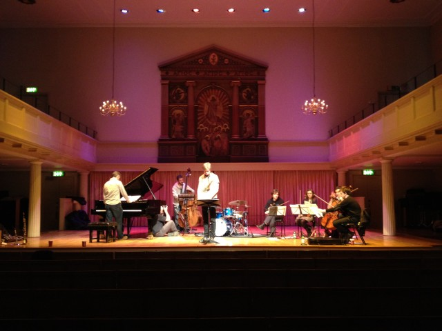 Inside picture from St George's with Dave Stapleton, Marius Neset, Dave Kane and Brodowski String Quartet